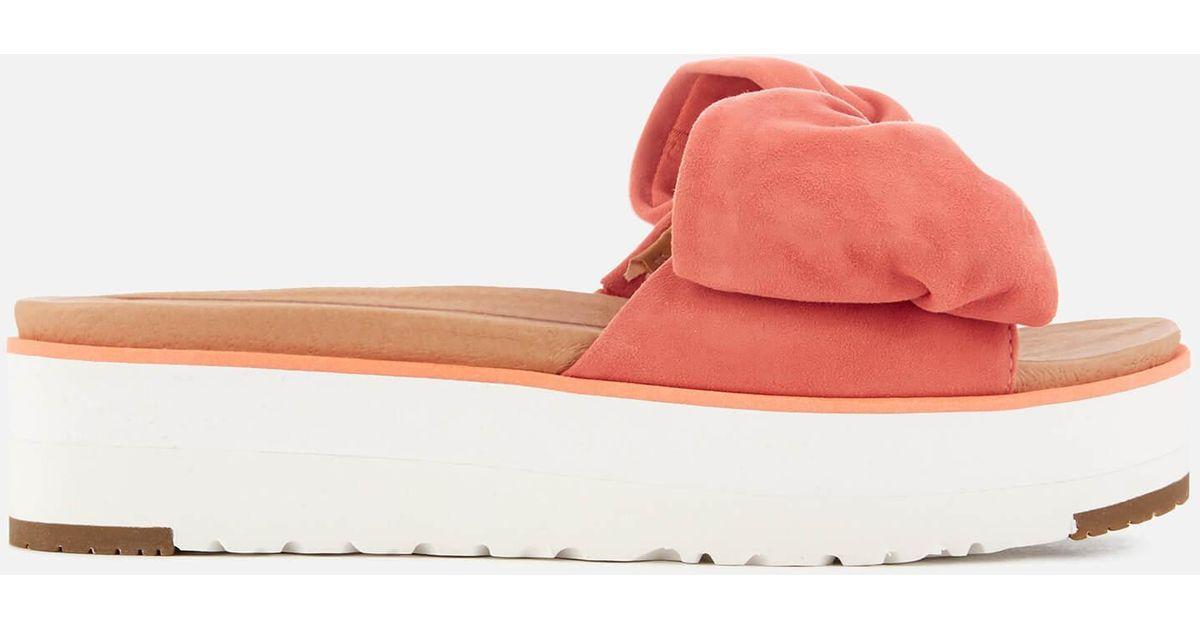 b284e19c35b7 Lyst - UGG Joan Suede Bow Flatform Slide Sandals in Orange