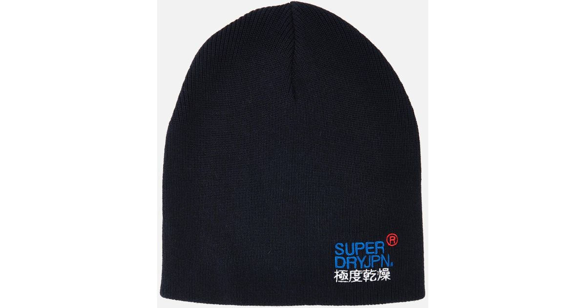 db0bb35cb Superdry Blue Windhiker Embroidery Beanie Hat for men
