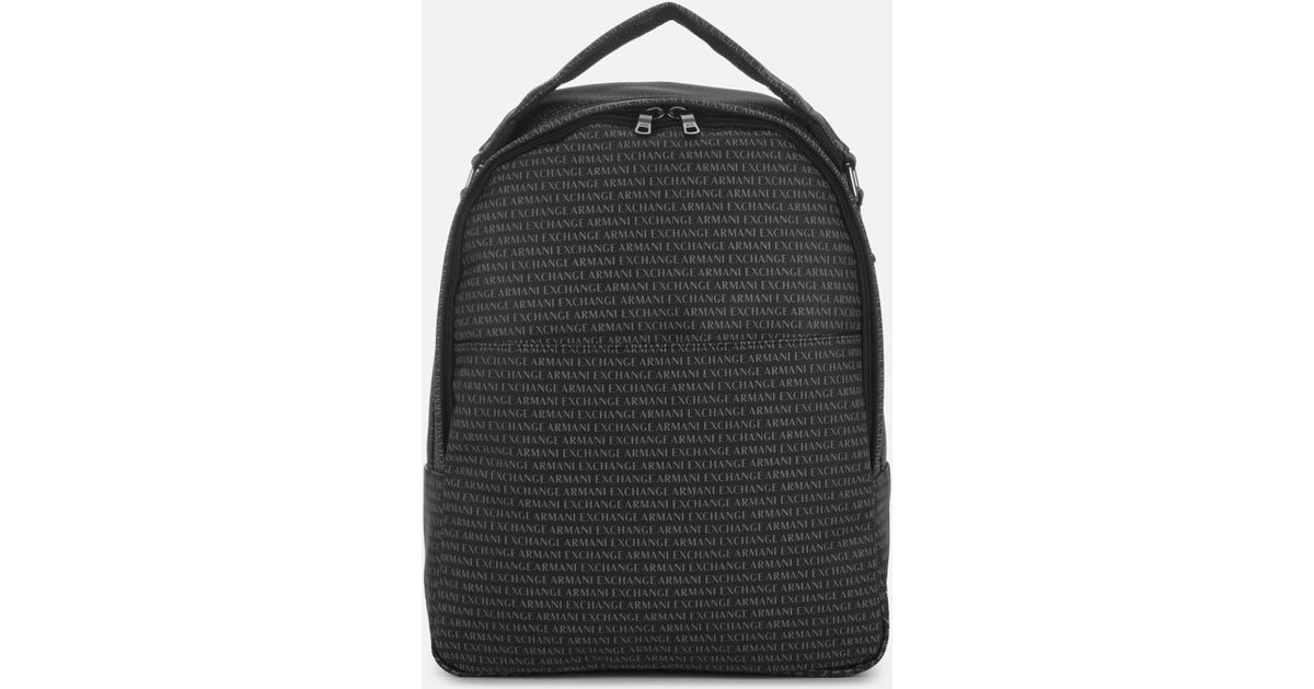 Lyst - Armani Exchange All Over Print Backpack in Black for Men 86cfbea9b284c