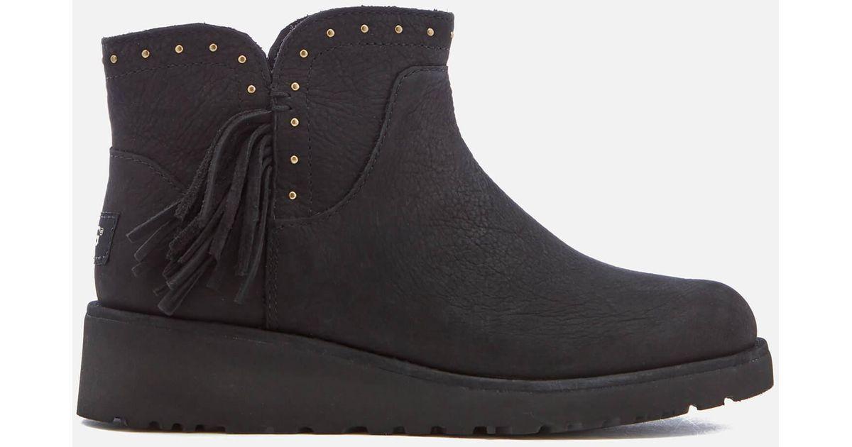 c98aaf93139 Ugg Black Cindy Leather Tassle Ankle Boots