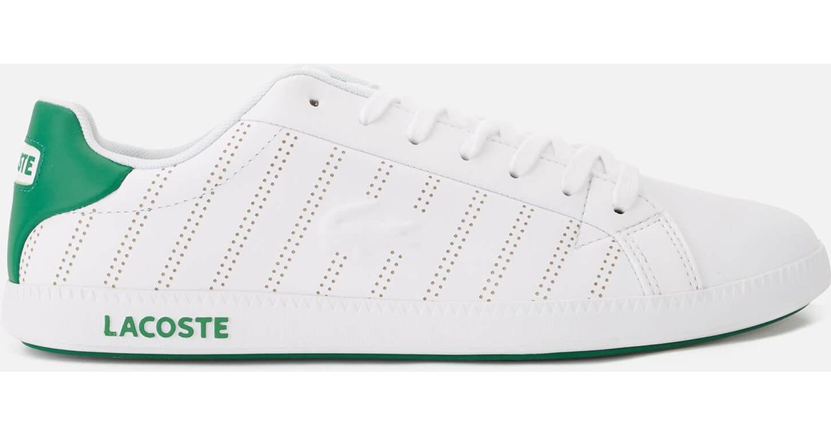 20a12de9c Lacoste Graduate 318 1 Perforated Leather Trainers in White for Men - Lyst