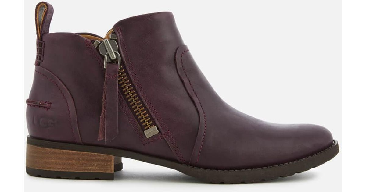 Ugg Purple Aureo Full Grain Leather Flat Ankle Boots