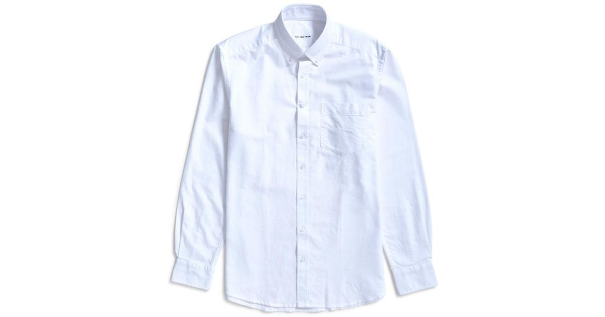 7ea6e1f47f The Idle Man Relaxed Modern Fit Oxford Shirt White in White for Men - Lyst