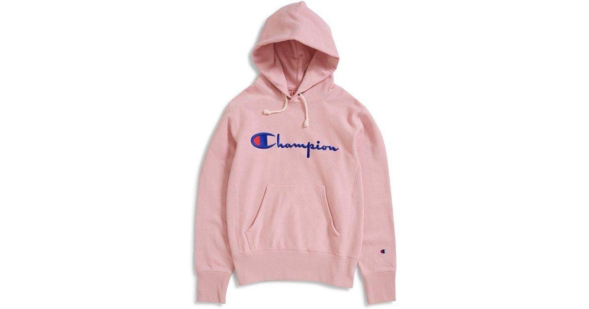 sports shoes b4719 a039d Champion Reverse Weave Script Logo Hooded Sweatshirt Pink in Pink for Men -  Lyst