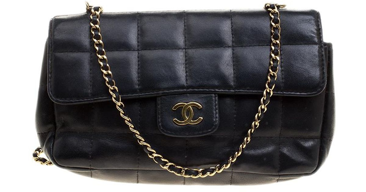 6cc377904bc8 Chanel Chocolate Bar Quilted Leather East West Flap Shoulder Bag in Black -  Lyst
