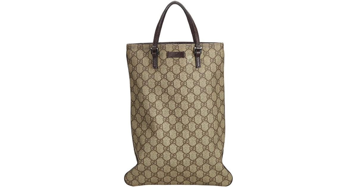 0b59943f Gucci Brown GG Supreme Coated Canvas Tote Bag in Brown - Lyst