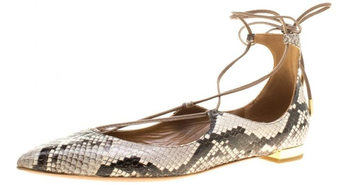 e5d38efcf Aquazzura Two Tone Snake Embossed Leather Christy Lace Up Pointed Toe Flats  Size 38 in Gray - Lyst