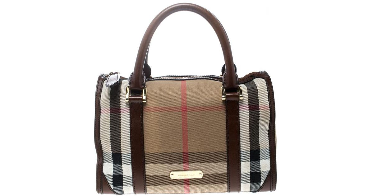 1ed68ae474c Burberry /brown House Check Canvas And Leather Boston Bag in Natural - Lyst