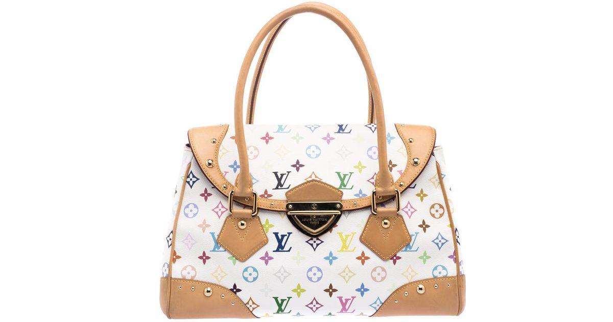 6d57527c338 Louis Vuitton White Multicolor Monogram Canvas Ursula Bag
