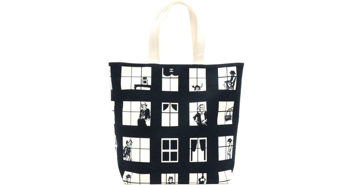 92f06f3f0599 Chanel Two Tone Canvas Coco Window Tote in Black - Lyst