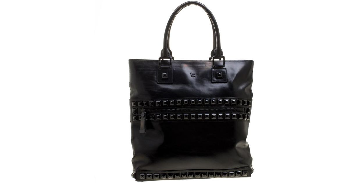 fd2deb1cc2b Burberry Black Glazed Leather Studded Tote in Black for Men - Save 14% -  Lyst