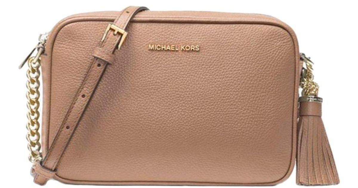 5c5624d7e3bd Lyst - Michael Kors Truffle Pebbled Leather Medium Ginny Crossbody Bag in  Brown