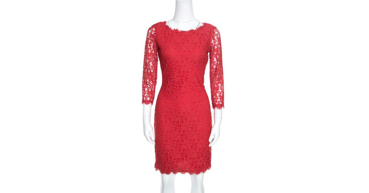 00d587adc94dd Lyst - Diane von Furstenberg Red Lace Long Sleeve Colleen Dress S in Red