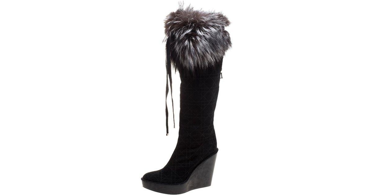 3f88c083dac Lyst - Dior Cannage Suede Fox Fur Trim Knee High Wedge Boots in Black