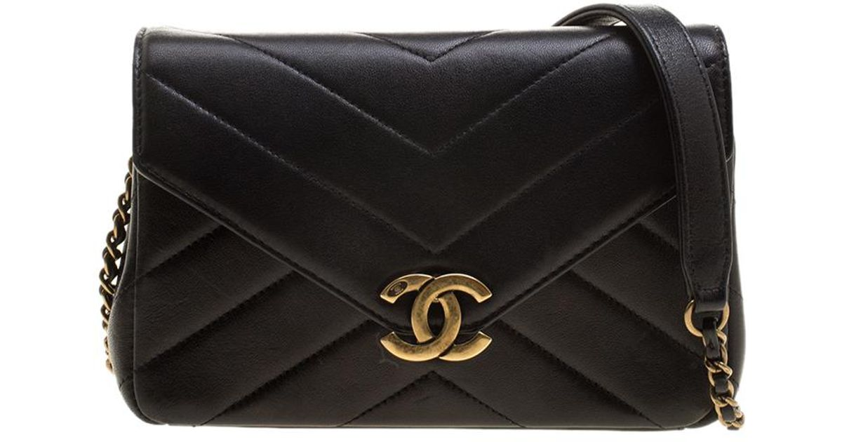 5af5c921912896 Chanel Herringbone Quilted Leather Flap Bag W/ Removable Red Pouch in Black  - Lyst