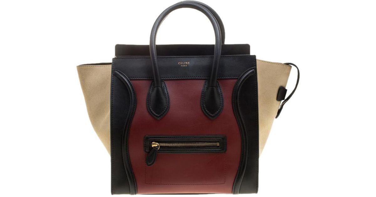 6c56cbabf859 Céline Tri Color Leather And Suede Mini Luggage Tote - Lyst