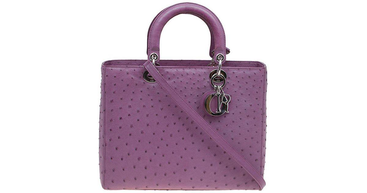 016e030e8a6 Dior Ostrich Skin Large Lady Tote in Purple - Lyst