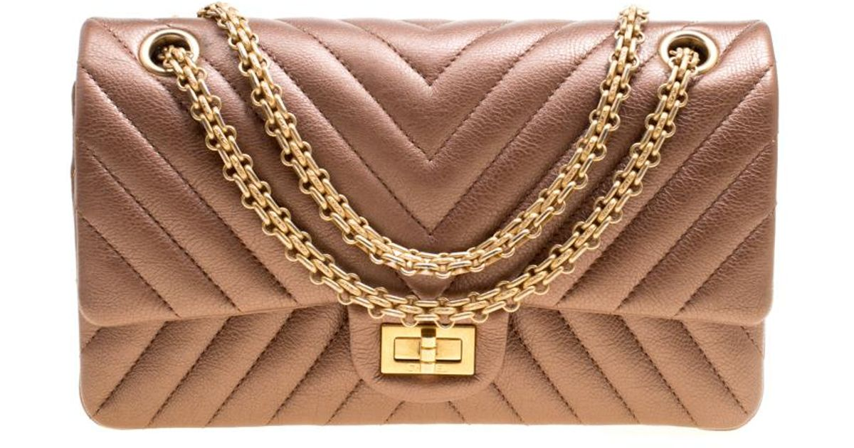 e3075c7004c6ae Chanel Metallic Quilted Leather Reissue 2.55 Classic 225 Flap Bag in Brown  - Lyst