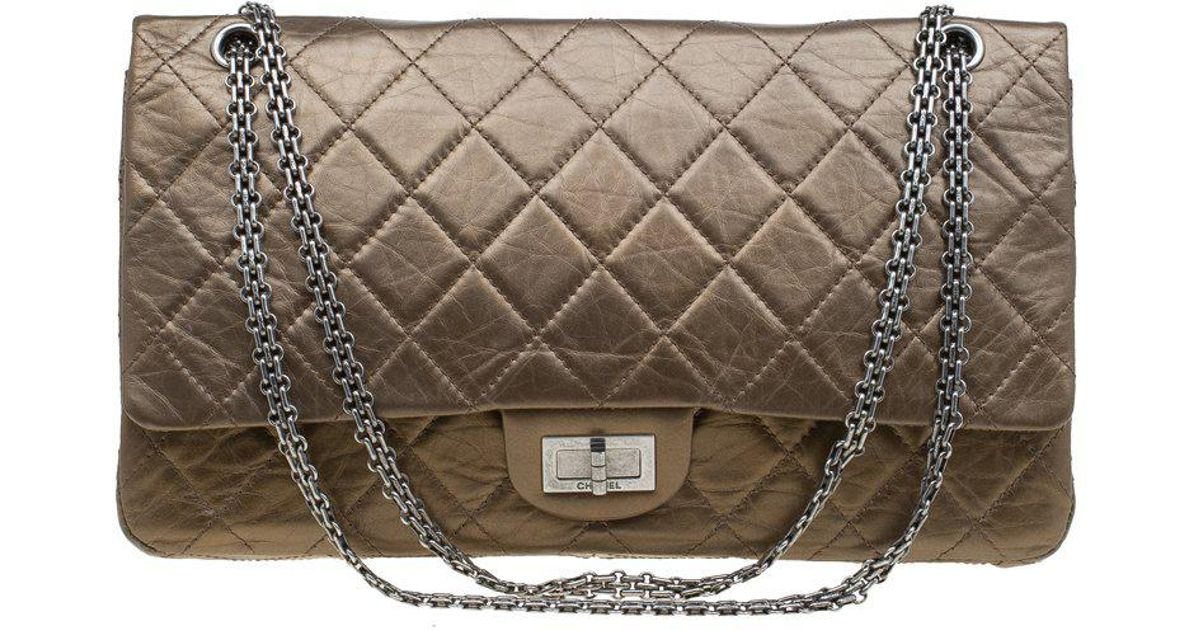 475a6f010628fa Chanel Bronze Quilted Leather 2.55 Reissue Classic 227 Flap Bag in Metallic  - Lyst