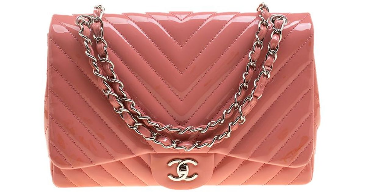 51fd64f7cc3c Chanel Peach Quilted Patent Leather Chevron Jumbo Classic Flap Bag in Pink  - Lyst