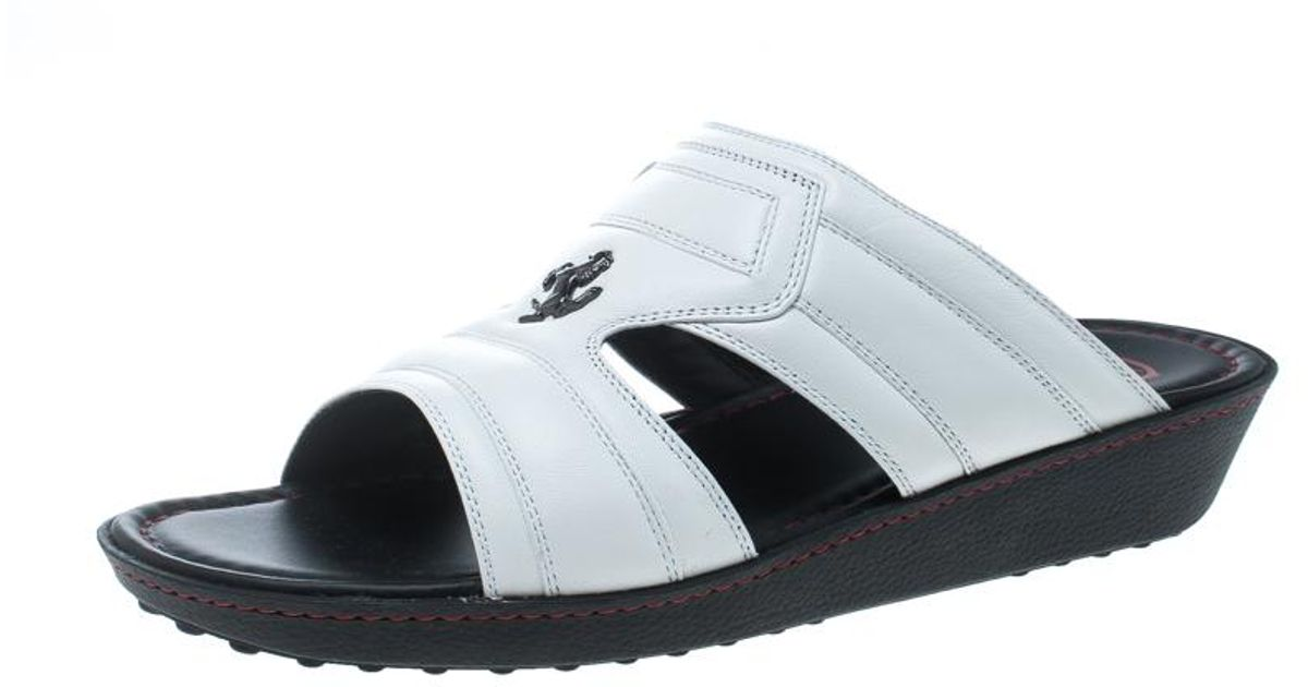 96b479a8f0a7 Lyst - Tod s For Ferrari Limited Edition White Leather Platform Slide  Sandals Size 42 in White for Men