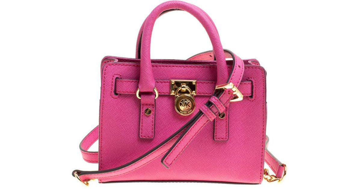 Hot Pink Saffiano Leather Mini Hamilton