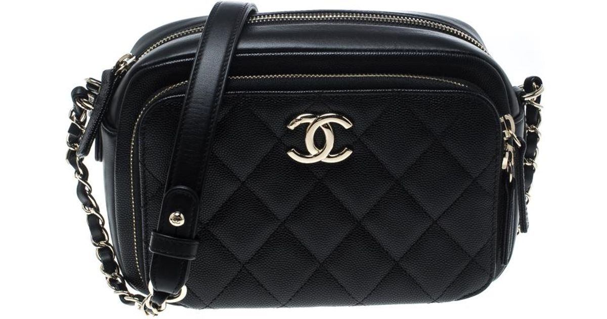 e2b7be10 Chanel Black Quilted Leather Business Affinity Camera Case Shoulder Bag
