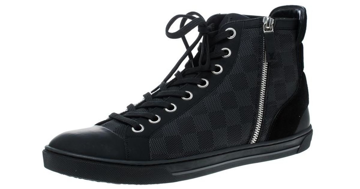 b806c49621e Louis Vuitton Black Damier Graphite Fabric And Suede Trim Zip Up High Top  Sneakers Size 45 for men