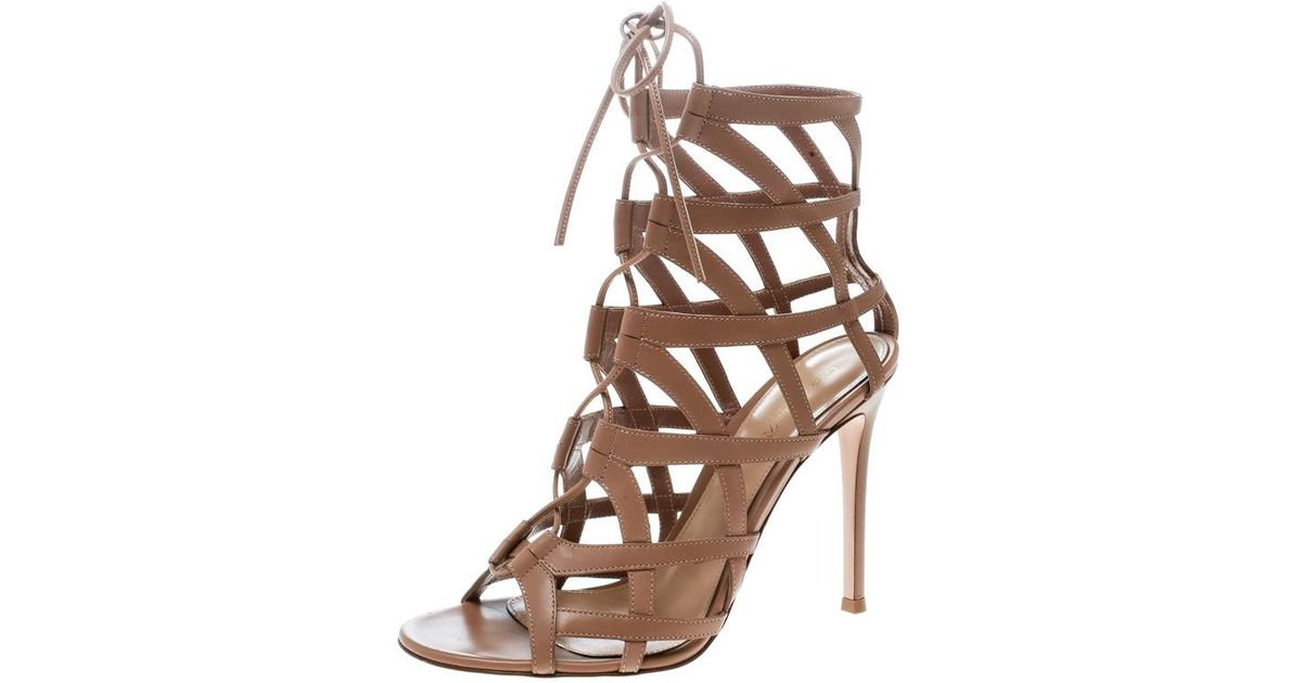 073481b5e Lyst - Gianvito Rossi Leather Adina Lace Up Caged Sandals in Natural