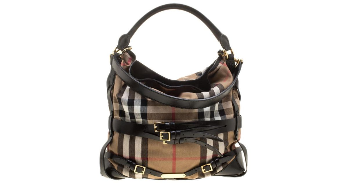 35e8638616ac Lyst - Burberry Beige  House Check Canvas And Leather Medium Bridle Gosford  Hobo in Black