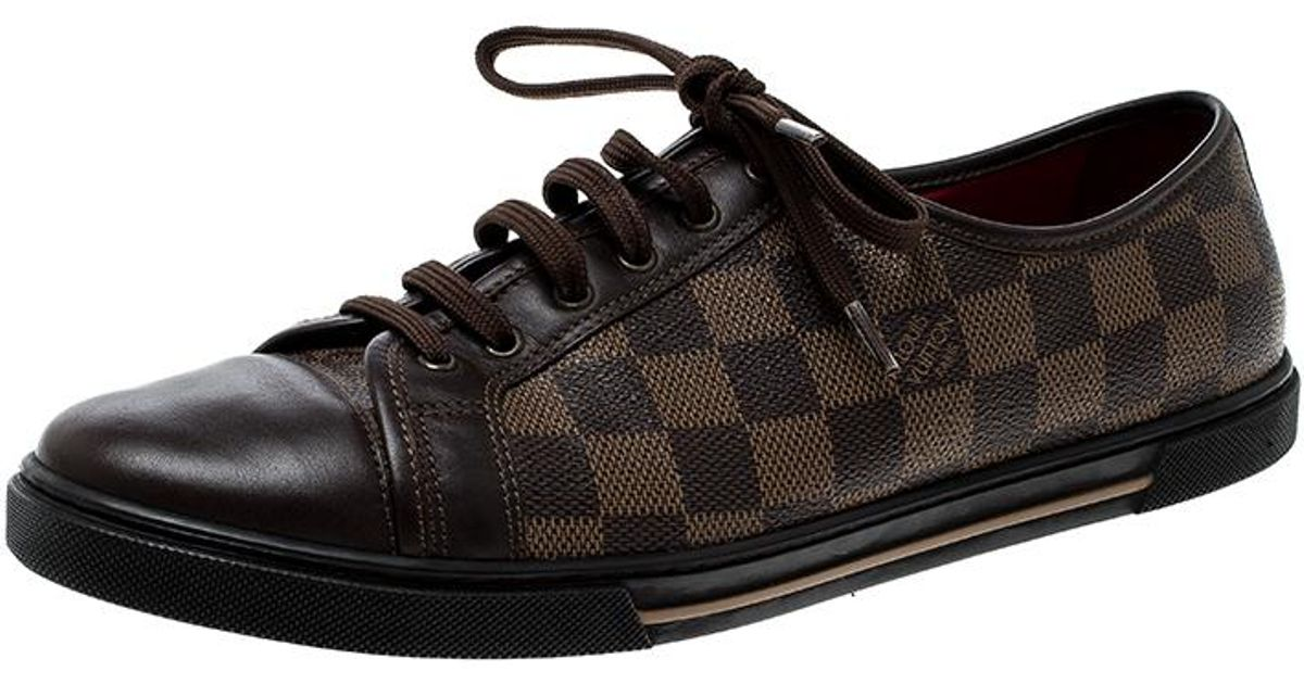 93984588b273 Lyst - Louis Vuitton Damier Ebene And Leather Punchy Low Top Sneakers in  Brown