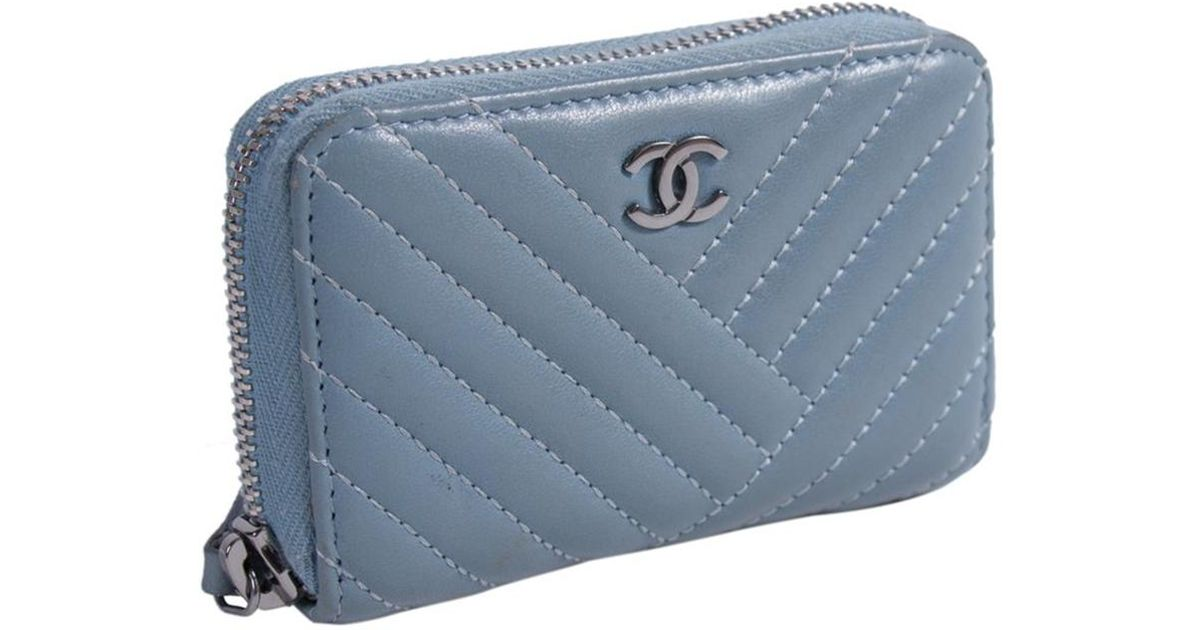 343a7e940d53 Chanel Quilted Lambskin Zip Around Coin Purse in Blue - Lyst