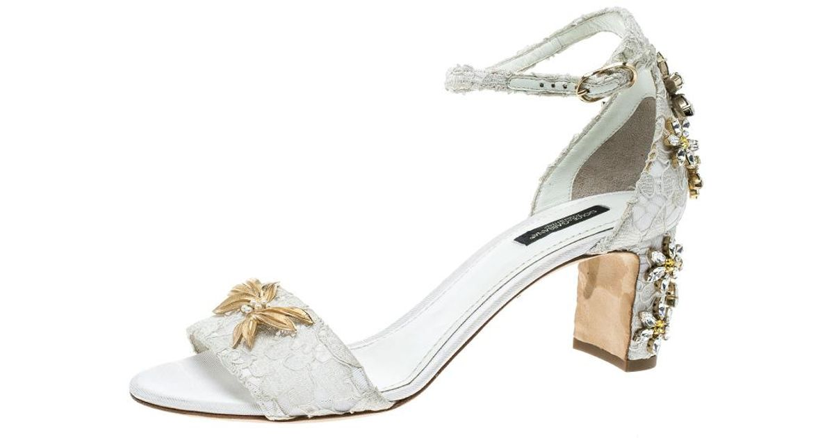 4de52cacdec Dolce & Gabbana White Off Lace Daisy Crystal Embellished Block Heel Ankle  Strap Open Toe Sandals