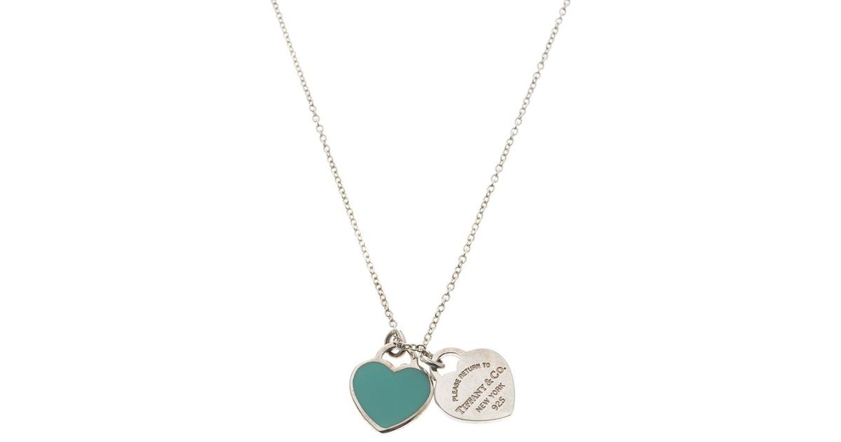 Tiffany Co Return To Tiffany Double Heart Tag Chain Necklace In Silver Metallic Lyst
