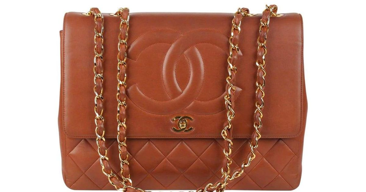 f5025f61bfc5 Chanel Brown Quilted Leather Cc Vintage Jumbo Xl Flap Bag in Brown - Lyst