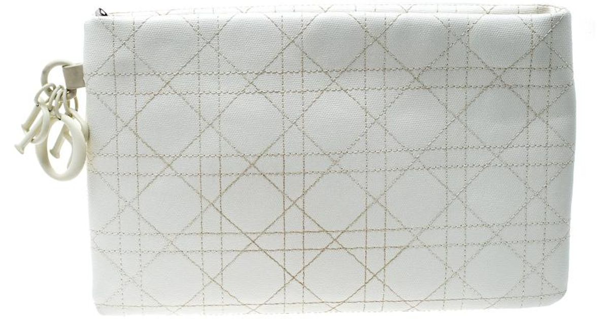 00e649002079 Dior Cannage Coated Canvas Panarea Clutch in White - Lyst