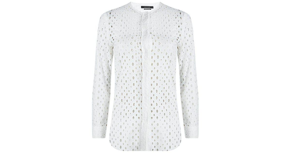 f0edf7f076771 Lyst - Isabel Marant Cutout Eyelet Embroidered Cotton Blouse S in White