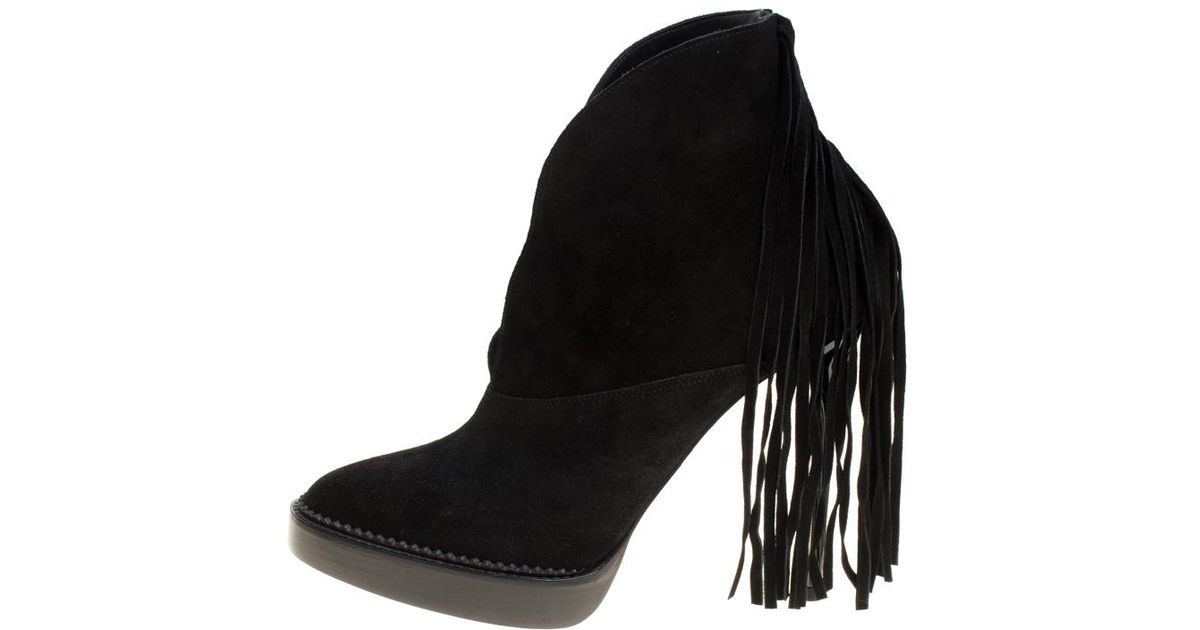 283a99715f7 Lyst - Burberry Prorsum Fringed Suede Nadie Ankle Boots in Black