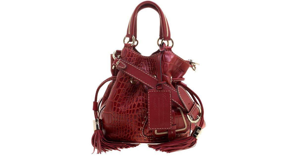 3ee09ef1aefe Lancel Croc Embossed Leather Small Premier Flirt Bucket Bag in Red - Lyst