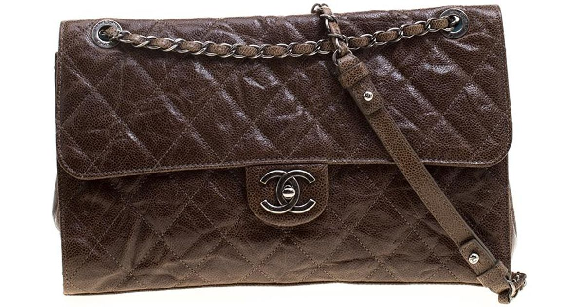 774169875a5c Lyst - Chanel Glazed Caviar Quilted Leather Large Crave Single Flap Bag in  Brown