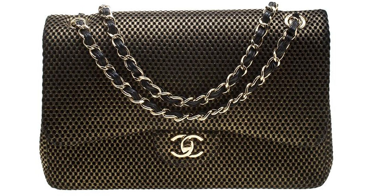 3092b07be2336a Chanel Black/ Perforated Jersey Jumbo Classic Double Flap Bag in Metallic -  Lyst