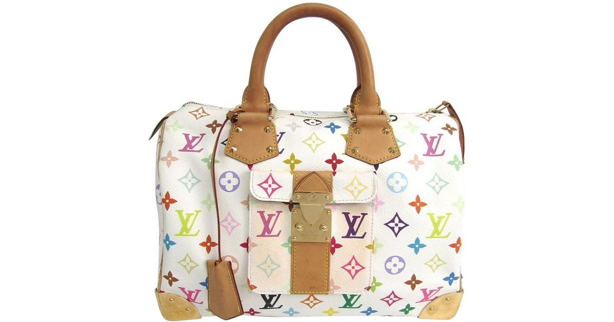 56f535bdaaa94 Louis Vuitton Monogram Multicolore Speedy 30 Bag in White - Lyst