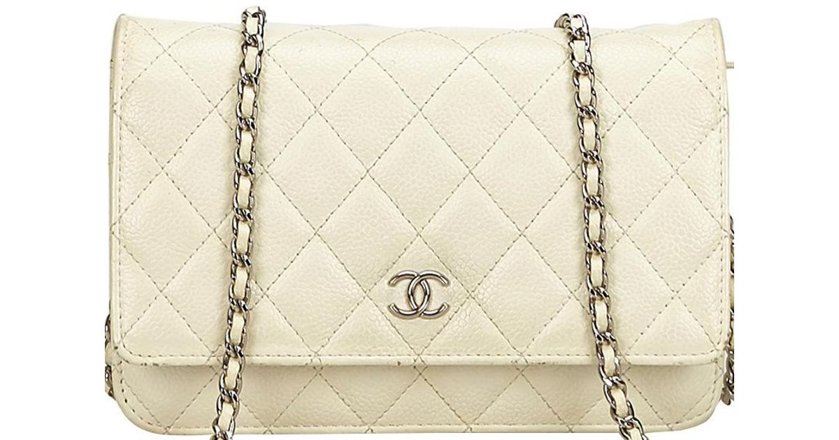 Lyst - Chanel Quilted Caviar Woc Clutch Bag in White b0018ed03bf