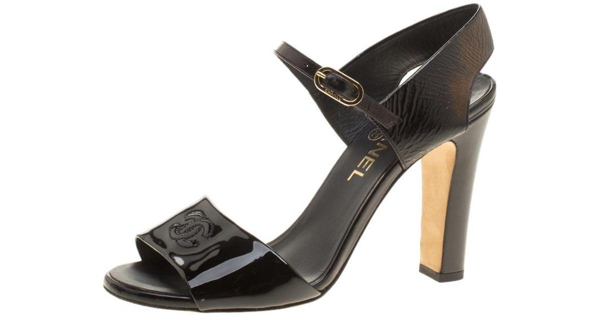 Chanel Patent Leather Cc Block Heel