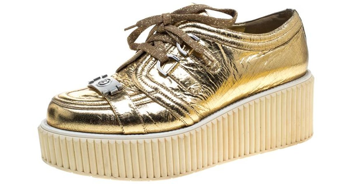 fd2c3e2213a Lyst - Chanel Metallic Distressed Foil Leather Creepers Platform Sneakers  in Metallic