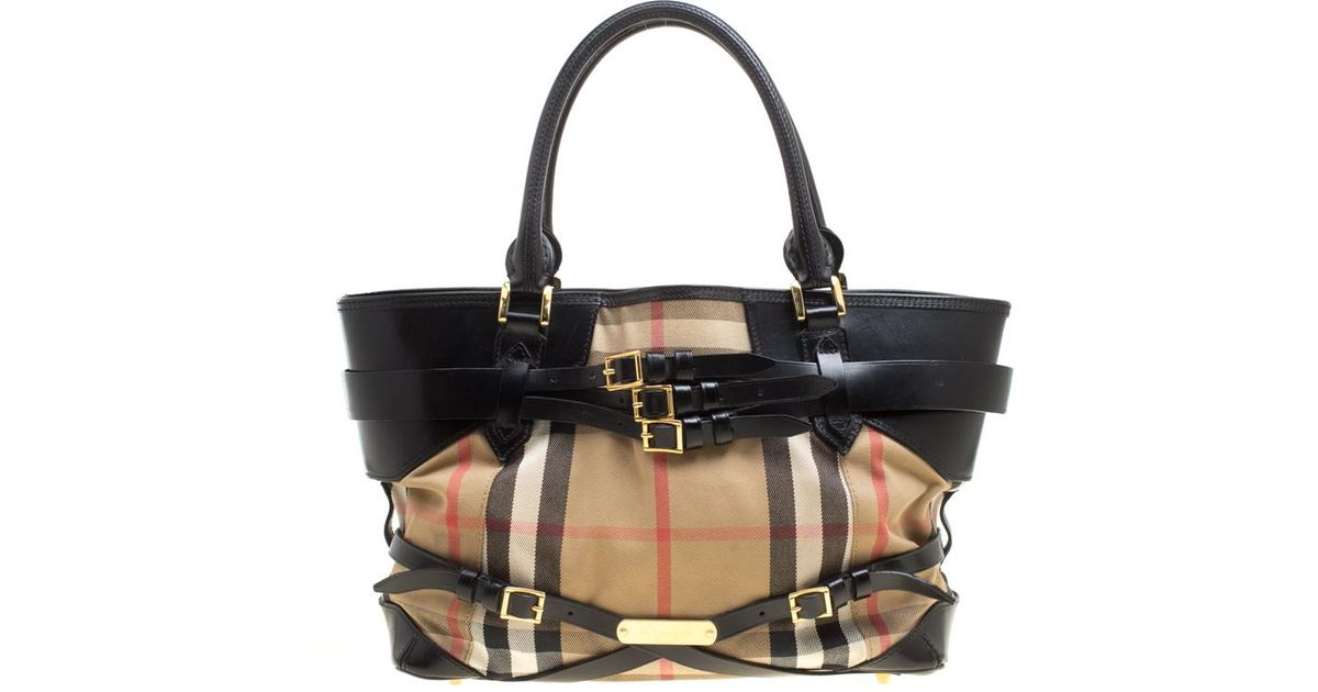 Burberry  black House Check Canvas And Leather Medium Bridle Lynher Tote in  Natural - Lyst 4d4b35da1e