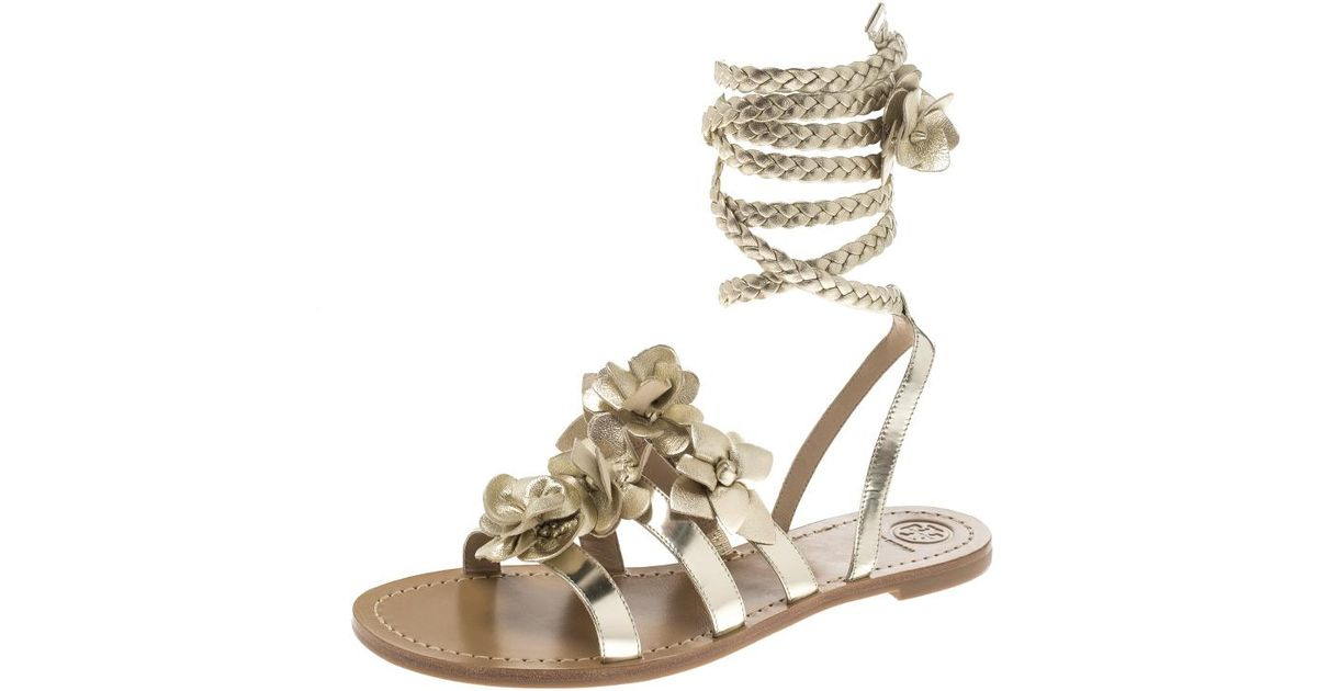 1637cede77c Lyst - Tory Burch Light Leather Blossom Floral Embellished Gladiator Sandals  in Metallic - Save 39.42307692307692%