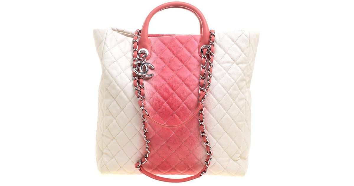 dcfd7752f777 Lyst - Chanel  rose Ombre Quilted Caviar Leather Shopping Tote in Pink
