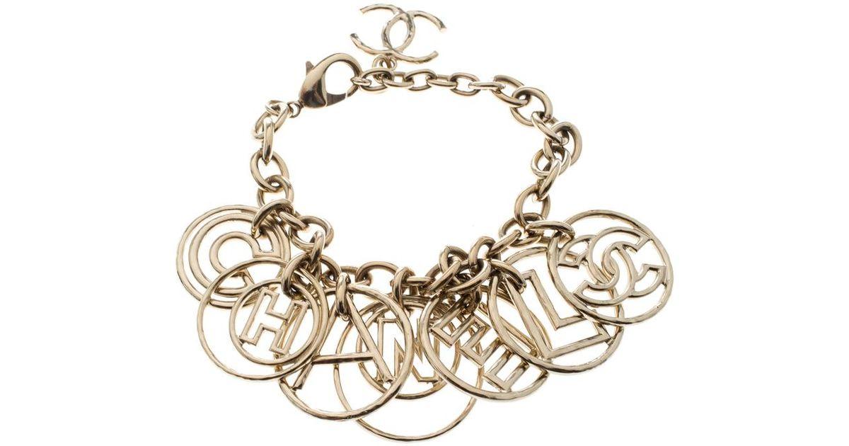 8284a8a2064 Lyst - Chanel Cc Logo Charm Gold Tone Chain Link Bracelet in Metallic -  Save 26%