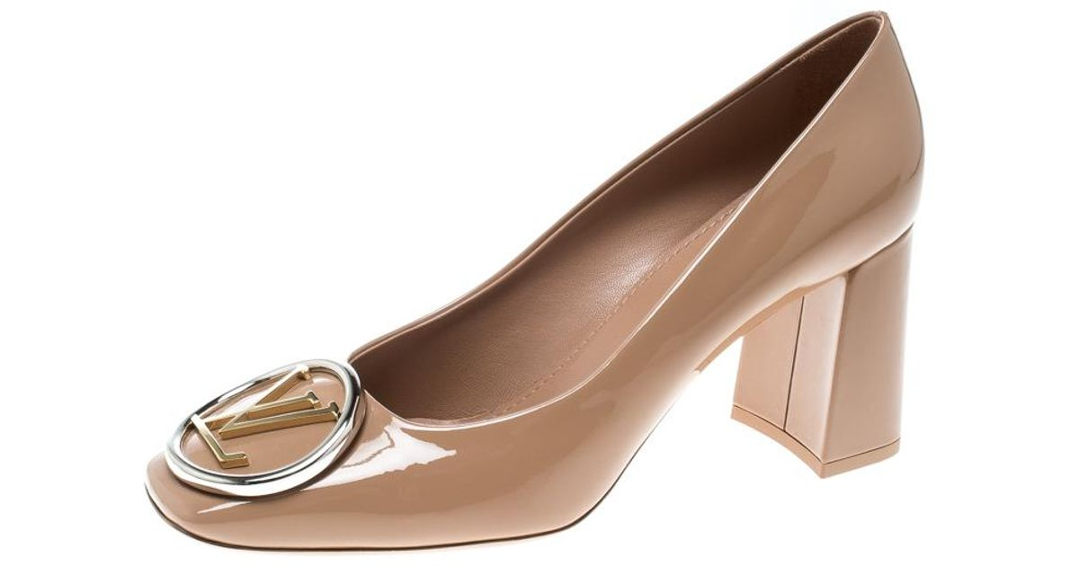 e5ae3c2aaf80 Lyst - Louis Vuitton Patent Leather Madeleine Square Toe Pumps in Natural